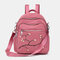 Women Nylon Embroidery Multiple-Carry Backpack - Pink
