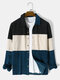 Mens Corduroy Color Block Panel Stitching Casual Long Sleeve Shirts - Blue