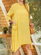 Solid Color Hooded Pocket Long Sleeve Casual Dress For Women - Yellow