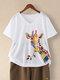 Kurzarm-T-Shirt mit V-Ausschnitt und Giraffenmuster für Damen - Weiß