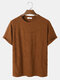 Mens Solid Color Texture Basics Short Sleeve T-Shirt - Coffee