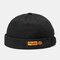 Men & Women Brimless Hats Solid Color Labeling Letter Skull Caps - Black