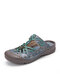 Socofy Bohemian Floral Print Hollow Out Leather Adjustable Hook Loop Closed Toe Mule Sandals - Blue
