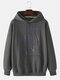Mens Cartoon Animal Letter Printed Cotton Loose Drawstring Hoodies With Pouch Pocket - Dark Gray