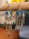 Vintage Bohemian Hollow Drop Flower Shape With Tassel Inlaid Rhinestones Alloy Earrings - Dark Blue