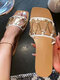 Women Metal Chain Decoration Summer Flat Outdoors Slides Slippers - White