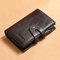 Men Genuine Leather RFID Anti-theft Multi-slot Retro Money Clip Foldable Card Holder Wallet - Coffee