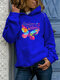 Butterfly Letter Print Long Sleeve Casual Hoodie For Women - Blue