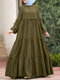 Muslim Solid Color Long Shirt Sundress Casual Pleated Maxi Dress - Green