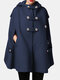 Solid Color Button Pocket Long Sleeve Casual Cape Coat for Women - Navy