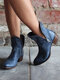 Large Size Women Casual Side-zip Pointed Toe Brief Solid Color Low Heel Ankle Boots - Blue