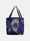 महिलाओं को प्यारा बिल्ली प्रिंट हैंडबैग बहुत पसंद आया - नीला