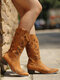Large Size Women Butterfly Decor Pointed Toe Mid Calf Cowboy Boots - Yellow