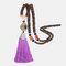 Vintage Buddha Wood Beads Long Necklace Ethnic Geometric Tassel Pendant Sweater Chain - 14