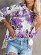 Floral Print High-low Hem Long Sleeve Casual Blouse For Women - Purple