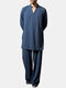 Men V Neck Length Tops T-Shirts Co-ords Loungewear Sets Cotton Long Sleeve Cozy Two Pieces - Blue