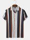 メンズストライプキャンプカラーボタンアップ半袖シャツ - 褐色