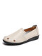 Solid Comfortable Hollow-out Single Shoes Floral Flats For Women - Beige