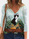 Cartoon Cat Printed Casual V-neck Long Sleeve T-Shirt For Women - White