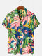 Mens Plant Printed Color Block Cotton Casual Short Sleeve Shirts - Blue