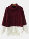 Women Contrast Color Patchwork High Neck Loose Casual Sweater - Wine Red