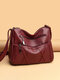 Ladies Simple Practical Soft Cow Leather Crossbody bag - Wine Red