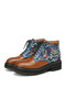 SOCOFY Retro Embroidered Splicing Embossed Leather Comfy Wearable Lace Up Casual Ankle Boots - Coffee