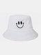 Femmes et hommes sourire motif de broderie chapeau de seau de parasol décontracté en plein air all-match - blanc