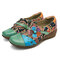 SOCOFY Folkways Floral Pattern Genuine Leather Splicing Jacquard Comfortable Zipper Flat Shoes - Green