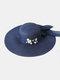 Women Wide Brim Summer Beach Holiday Bowknot Sunshade Straw Hat Bucket Hat - Navy