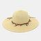 Fashion Wild Women Summer Sunscreen Straw Hats Beach Hat Shade Straw Hat Seaside Holiday Big Along Hat - Beige