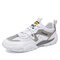 Men Breathable Lace-up Round Toe Color Blocking Casual Sneakers - White