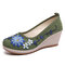 Women Handmade Floral Embroidered High Heels Cloth Wedges Shoes - Green