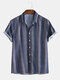 Mens Casual Ethnic Pattern Printed Short Sleeve Shirts - Blue