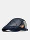 Men Mesh Leather Label Contrast Color Patchwork Breathable Casual Berets Flat Caps - Navy