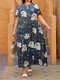 Leaves Flower Print O-neck Short Sleeve Loose Vintage Maxi Dress - Dark Blue