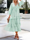 Solid Color V-neck Knotted Long Sleeve Patchwork Casual Dress - Blue