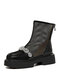 Women Fashion British Style Thin Mesh Splicing Leather Comfy Breathable Back Zipper Platform  Boots - Black