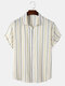 Mens Striped Pattern Lapel Short Sleeve Button Up Casual Shirt - Yellow