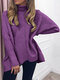 Casual Solid Color High Neck Plus Size Winter Sweater for Women - Purple