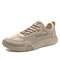 Men Casual Lace-up Round Toe Letter Pattern Hard Wearing Canvans Shoes - Khaki