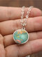 Double-Sided Glass Ball Women Necklace World Map Pendant Necklace Sweater Chain - Silver