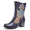 SOCOFY Retro Flower Embroidery Genuine Leather Splicing Comfy Casual Chunky Heel Short Boots - Blue