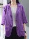 Однотонная повседневная куртка с отложным воротником и рукавами 3/4 с карманами - пурпурный