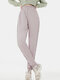 Solid Color Sports Casual Striped Pants For Women - Pink