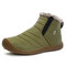 Men Waterproof Cloth Non Slip Plush Lining Slip-ons Casual Snow Boots - Khaki