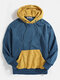 Mens Contrast Patchwork Casual Relaxed Fit Kangaroo Pocket Drawstring Hoodies - Blue