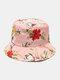 Women & Men Floral Overlay Print Pattern Casual Outdoor Visor Bucket Hat - #07