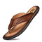Men Clip Toe Comfy Soft Sole Water Beach Casual Leather Flip Flops - Red Brown