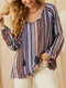 Multi-striped Print Tassel Knotted Collar T-Shirt for Women - Navy